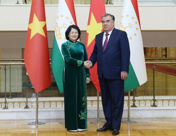 越南国家副主席邓氏玉盛在塔吉克斯坦与各国领导人举行双边接触 - ảnh 1