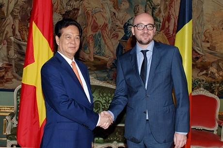 Gespräch des Premierministers Nguyen Tan Dung mit seinem belgischen Amtskollegen Charles Michel - ảnh 1