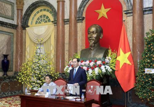 Staatspräsident Tran Dai Quang trifft Handelsattaches  - ảnh 1