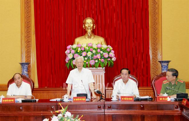 KPV-Generalsekretär Nguyen Phu Trong nimmt an der Konferenz der Parteileitung der Polizei teil - ảnh 1