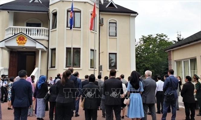 Die vietnamesische Botschaft in der Ukraine hisst die Nationalflagge zum ASEAN-Gründungstag - ảnh 1