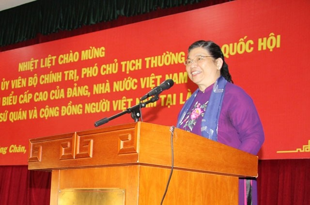Тонг Тхи Фонг провела встречу с вьетнамскими эмигрантами в Лаосе - ảnh 1