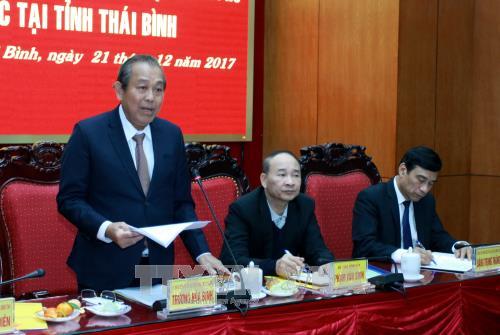 Вице-премьер Чыонг Хоа Бинь посетил провинцию Тхайбинь с рабочим визитом - ảnh 1