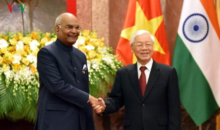 Нгуен Фу Чонг председательствовал на церемонии официальной встречи президента Индии Рама Натха Ковинда - ảnh 1