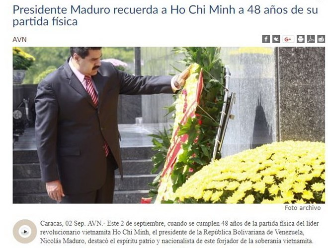 Presiden Venezuela memuliakan Presiden Ho Chi Minh - ảnh 1