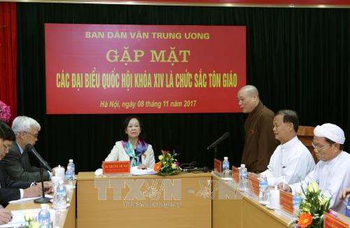 Departemen Penggerakan Massa Rakyat KS PKV melakukan pertemuan dengan para anggota MN Vietnam angkatan XIV yang adalah pemuka agama - ảnh 1