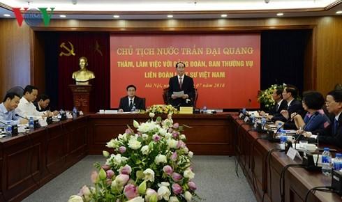 Presiden Vietnam, Tran Dai Quang melakukan temu kerja dengan Federasi Pengacara Vietnam - ảnh 1