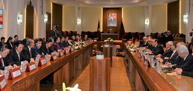 Ketua Majelis Rendah Maroko menyambut dan melakukan pembicaraan dengan Ketua MN Viet Nam, Nguyen Thi Kim Ngan - ảnh 1