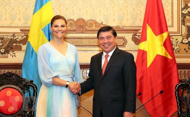 Pemimpin Kota Ho Chi Minh menerima Puteri Mahkota Kerajaan Swedia - ảnh 1