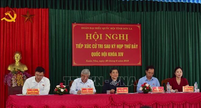 Wakil Harian Ketua MN Vietnam, Tong Thi Phong melakukan kontak dengan pemilih di Provinsi Son La - ảnh 1