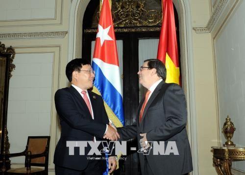Deputi PM, Menlu Pham Binh Minh melakukan pembicaraan dengan Menlu Kuba - ảnh 1