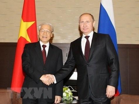 Sekjen KS PKV, Nguyen Phu Trong: Vietnam menghargai dan memprioritaskan pengokohan dan penguatan hubungan kemitraan straegtis dan komprehensif dengan Rusia - ảnh 1