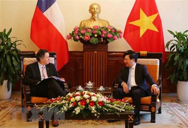 Deputi PM Vietnam, Menlu Pham Binh Minh menerima Menlu Cile, Roberto Ampuero Espinoza - ảnh 1