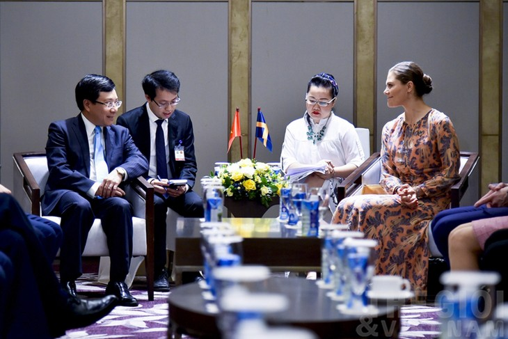 Deputi PM, Menlu Pham Binh Minh menerima Putri Mahkota Swedia - ảnh 1