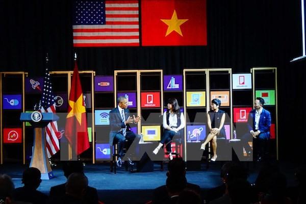 US-Präsident Barack Obama trifft junge Unternehmer in Ho Chi Minh Stadt - ảnh 1