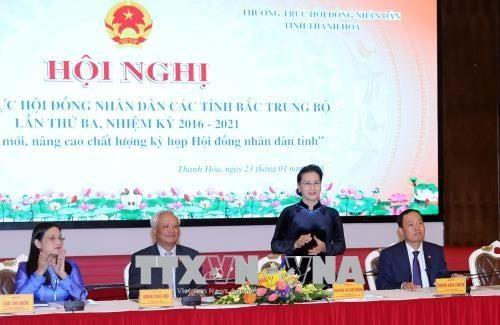 Parlamentschefin nimmt an der Konferenz der Volksräte der nordzentralvietnamesischen Provinzen teil - ảnh 1