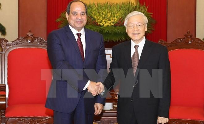 អគ្គលេខបក្សលោក Nguyen Phu Trong ទទួលជួបសន្ទនាជាមួយប្រធានាធិបតីអេហ្ស៊ីប លោក Abdel Fattah El-Sisi  - ảnh 1
