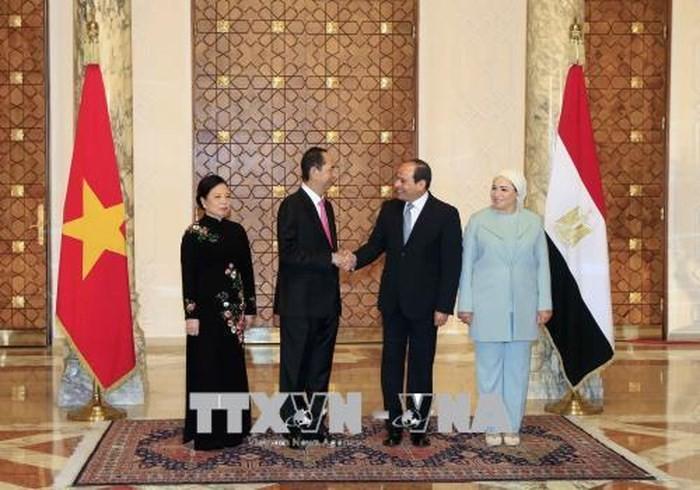 埃及总统塞西主持仪式欢迎越南国家主席陈大光 双方举行会谈 - ảnh 1