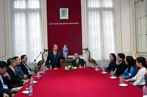 Deputy PM Vu Van Ninh meets Vietnam Embassy staff in Belgium - ảnh 1
