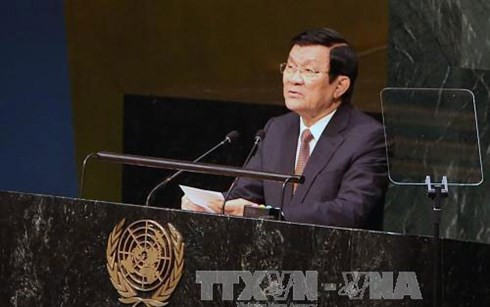 President Truong Tan Sang delivers a keynote speech at the UN Summit  - ảnh 1