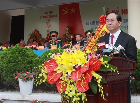 President Tran Dai Quang attends 50th anniversary of Military Technical Academy - ảnh 1