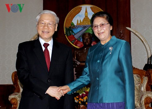 Party leader Nguyen Phu Trong meets Laos top legislator  - ảnh 1