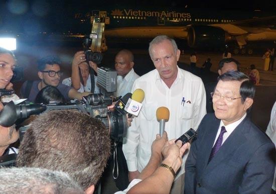 Truong Tan Sang arrive à la Havane - ảnh 1