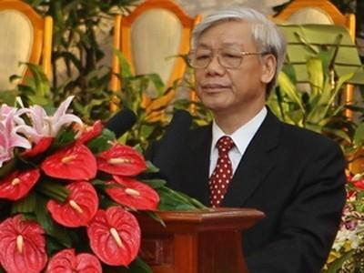 Sekjen Nguyen Phu Trong mengirim tilgram ucapan selama kepada Sekjen Partai Rakyat Revolusioner Laos, Bounnhang Volachith - ảnh 1