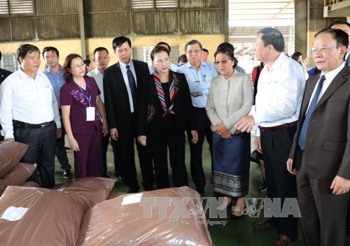Ketua MN Nguyen Thi Kim Ngan dan Ketua Parlemen Laos, Pany Yothotou membakar hio di Situs peninggalan sejarah Resimen 52 Tay Tien - ảnh 1