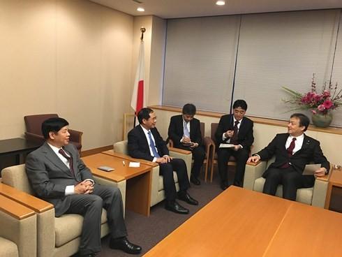 Deputi Menlu Bui Thanh Son melakukan temu kerja dengan Deputi Menteri urusan Parlemen dari Kemlu Jepang - ảnh 1