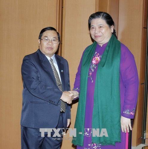 Wakil Harian Ketua MN Tong Thi Phong melakukan pembicaraan dengan Wakil Ketua Parlemen Laos - ảnh 1