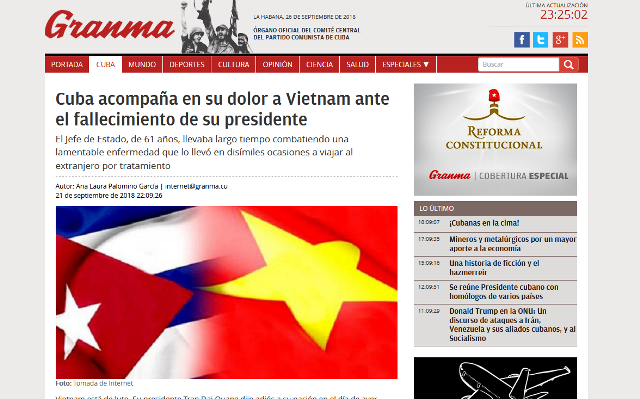 Prensa mundial da pésame al pueblo vietnamita ante la muerte del presidente Tran Dai Quang - ảnh 1