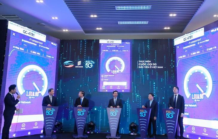 Exitosa primera conectividad móvil de quinta generación en Vietnam - ảnh 1