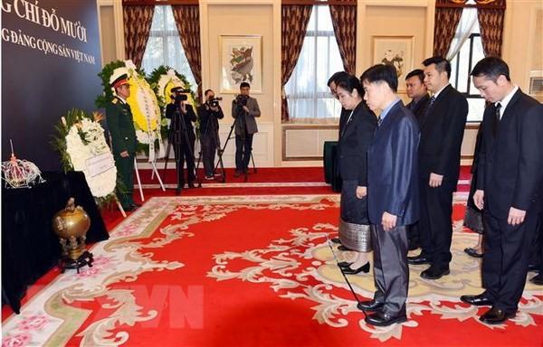 各国駐在ベトナム大使館、ムオイ元書記長の弔問式を開催 - ảnh 1