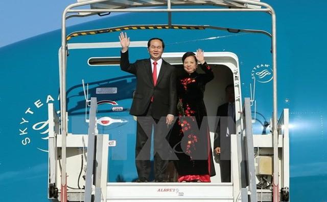 Presiden Vietnam, Tran Dai Quang beserta delegasi tingkat tinggi Vietnam memulai kunjungan resmi di Federasi Rusia - ảnh 1