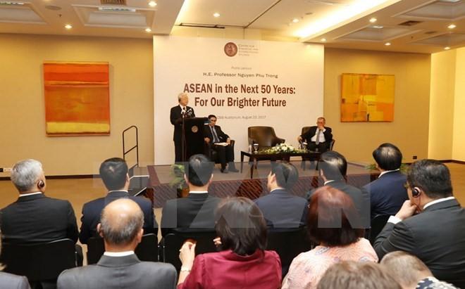 Sekjen KS PKV, Nguyen Phu Trong mengadakan ceramah di Pusat Pengkajian Strategi dan Internasional Indonesial - ảnh 1