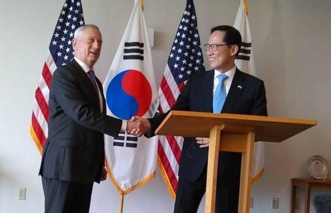 Para Menhan Republik Korea dan AS  berbahas tentang latihan perang gabungan - ảnh 1