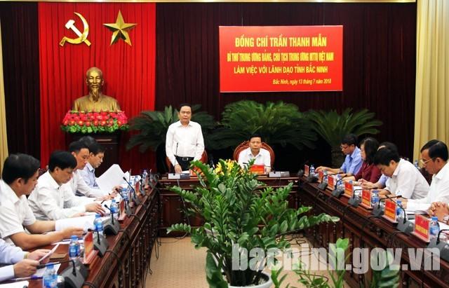 Rombongan kerja Pengurus Besar Front Tanah Air Viet Nam melakukan temu kerja di Provinsi Bac Ninh - ảnh 1
