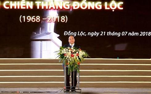 PM Viet Nam, Nguyen Xuan Phuc menghadiri upacara peringatan ultah ke-50  Kemenangan Dong Loc  - ảnh 1