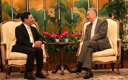 Deputi PM, Menlu Vietnam Pham Binh Minh bertemu dengan para pemimpin Singapura - ảnh 2