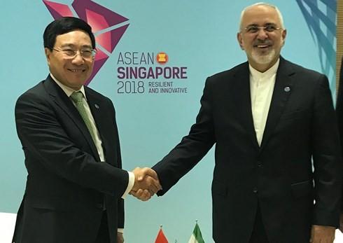 Deputi PM, Menlu Viet Nam, Pham Binh Minh  mengadakan pertemuan bilateral dengan Menlu Jepang dan  Menlu Iran - ảnh 2