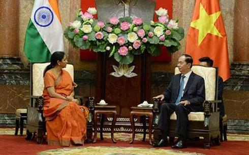 Le président vietnamien reçoit la ministre indienne de la Défense - ảnh 1