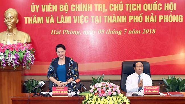 La présidente de l'AN en visite à Hai Phong  - ảnh 1