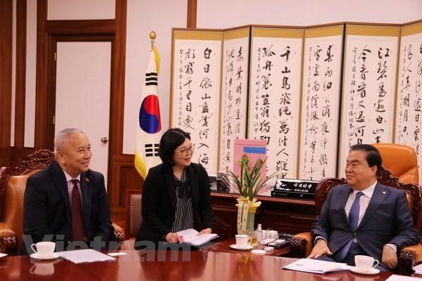 L'Ambassadeur du Vietnam reçu par le président de l'Assemblée nationale sud-coréenne  - ảnh 1