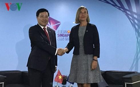 Pham Binh Minh rencontre les chefs de la diplomatie chinois et européen - ảnh 2