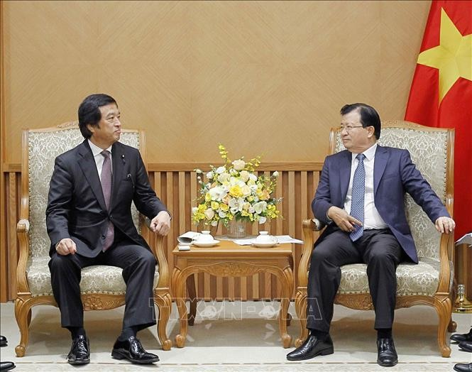 Le vice-Premier ministre Trinh Dinh Dung reçoit un ministre japonais - ảnh 1