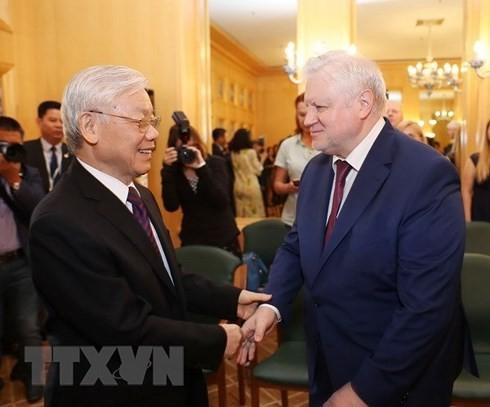 Nguyên Phu Trong rencontre des responsables des deux chambres du Parlement russe - ảnh 3