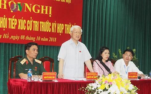 Nguyên Phu Trong rencontre l'électorat de Hanoi - ảnh 1