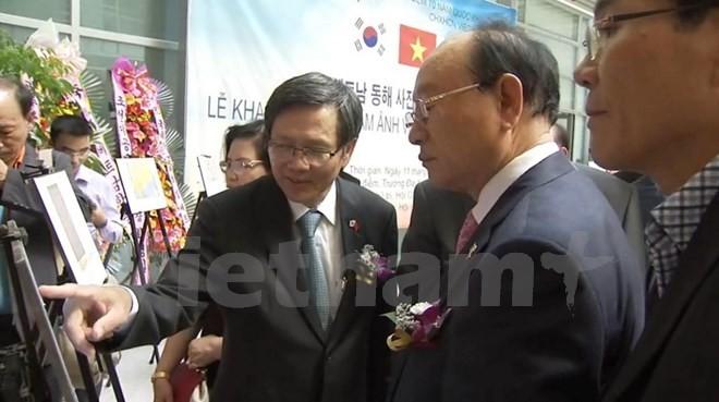 韓国で「中国の岩礁埋め立て、人工島の建設」を展示 - ảnh 1
