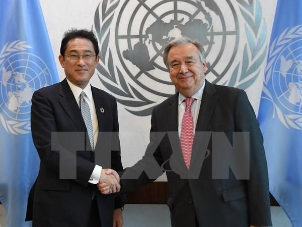 対朝鮮で協力確認=岸田外相、国連総長と会談 - ảnh 1